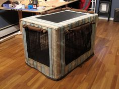 Photos of a completed DIY crate cover with some great features that could be incorporated into a more complete tutorial.  Screened, ventilated, adaptable to many temperatures.