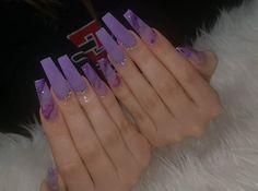 Long Square Acrylic Nails, Acrylic Nails Coffin Short, Best Acrylic Nails, Purple Acrylic Nails, Purple Nails, Drip Nails, Gel Nails, Nail Polish, Cute Acrylic Nail Designs