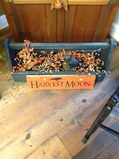 Tool Box $45.00, Harvest Moon Sign $20.00, Pip Berry Garland $12.50, Crow $15.00