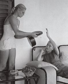 Grace Kelly on holiday in Jamaica with her sister Peggy 1955.