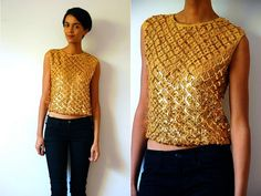 Vtg+Gold+Sequined+Sleeveless+Disco+Top+by+LuluTresors+on+Etsy,+$27.99