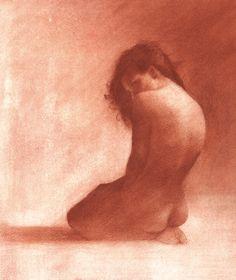 "Saatchi Online Artist: Patrick Palmer; Conté, 2013, Drawing ""Untitled - Red chalk"""