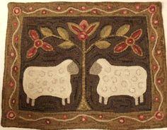 Rug Hooking Pattern Two Sheep on Monks Cloth J434 by DesignsInWool