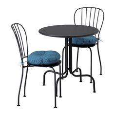 IKEA - LÄCKÖ, Table 2 chairs, outdoor, Läckö grey