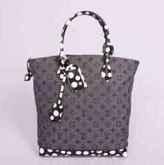 Louis Vuitton M40683 Monogram Denim Lockit Gray,Size: 31 x 35 x 14 (cm)
