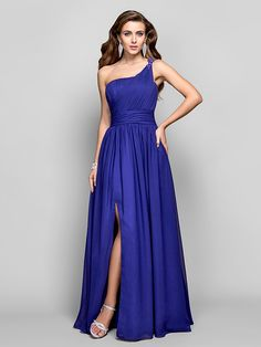 TS Couture® Formal Evening / Military Ball Dress - Open Back Plus Size / Petite Sheath / Column One Shoulder Floor-length Chiffon with Beading - USD $99.99