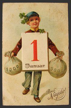 Prosit Neujahr German New Year Vintage Postcard