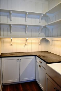 Pantry with ship lap walls and soapstone counter tops - Witt Construction