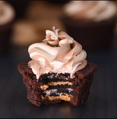 Brownie Oreo cupcake (I'm going to use mint filling instead of peanut butter) Full recipe at http://www.soyummyblog.com/single-post/2017/05/26/Oreo-Peanut-Butter-Brownie-Cupcakes