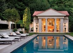 Every homeowner would dream to get a pool in their own house. Well, we are perfectly aware of the advantages one can get if there is a pool in the house. Pool House Interiors, Rectangular Pool, Minimalist House Design, Beautiful Pools, Dream Pools, Swimming Pools Backyard, Cool Pools, Pool Houses, Pool Designs