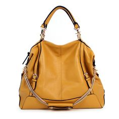 S Chain Leather Hobo Tote Bag