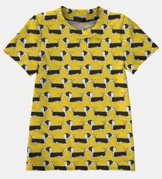 Stretch jersey gul med hunder