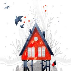 Little red house on Behance