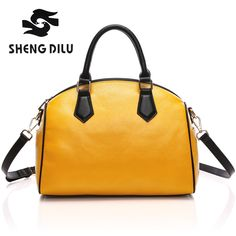 New 2017 Fashion Genuine Leather Women Handbag Patchwork Real Leather Ladies  Shoulder Bag Famous Brand Women Bag Casual Tote sac-in Top-Handle Bags from  ... d1dd36d522