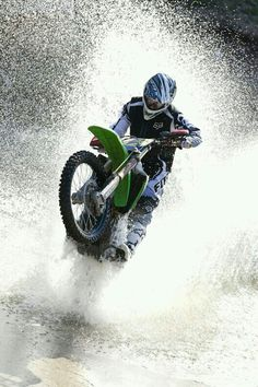 Skipping the water on a motor cross bike. #bikerslife