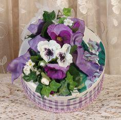 Victorian Keepsake / Trinket Hat Box - Sweet Violets Waverly Fabric - Round   eBay