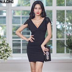 Cheap Dresses, Solid Black, Bodycon Dress, V Neck, Slim, Clothes For Women, Stuff To Buy, Fashion, Outerwear Women