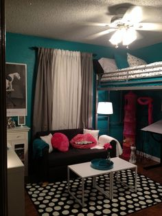 Teen room, tween room, bedroom idea, loft bed, black and white, teal, turquoise, hot pink, modern bedroom #teen #bedroom #ideas #bedroomideas Pink Bedrooms, Teen Girl Bedrooms, Teen Bedroom, Modern Bedroom, Bedroom Decor, Bedroom Ideas, Bedroom Black, Bed Ideas, Warm Bedroom