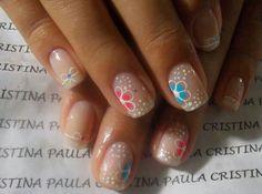 White polka dot/flower