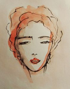 Face Painting, Original Ink and acrylic Drawing, Womans Face, Female Portrait, Contemporary painting, Modern Art