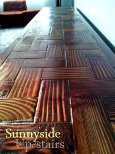 Herringbone table top with 2x4 blocks