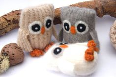 Adopt all three Baby Owl ...  angora eco wool felt by woolcrazy, $58.00