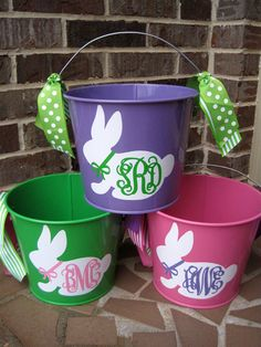 Girl Personalized Easter Bucket w/Bunny Appliqué w/Monogram; Many Designs to Choose From; Great Gift for a Baby Shower Easter Projects, Easter Crafts, Holiday Crafts, Holiday Fun, Easter Dyi, Easter Eggs, Easter Gift, Easter Decor, Easter Bunny