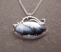 Dendritic Opal Gemstone Sterling Silver Necklace by bluepiranha