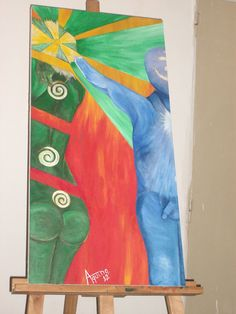 """Balancing"" Acrylic on canvas, 1 m. X 0.50 mts. Approx. FOR SALE"