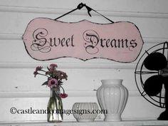 vintage Sweet Dreams shabby sign. $38.00, via Etsy.
