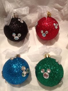 Disney Ornament --- I used clear ball and put the sparkly mickey heads on-- looked cute Disney Christmas Decorations, Mickey Mouse Christmas, Diy Christmas Gifts, Christmas Projects, Christmas Time, Minnie Mouse, Christmas Baby, Christmas Ideas, Disney Diy