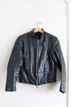 vintage 1960s leather jacket // mens motorcycle cafe racer jacket // by FoxAndSeagull