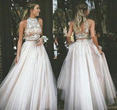 Prom Dress For Teens, A-Line High Neck Champagne Backless Tulle Two Piece Prom Dress with Rhinestone, cheap prom dresses, beautiful dresses for prom. Best prom gowns online to make you the spotlight for special occasions. Prom Dresses Two Piece, Prom Dresses 2016, Cheap Prom Dresses, Dance Dresses, Formal Dresses, Prom Gowns, Evening Gowns, Wedding Dresses, High Neck Prom Dresses