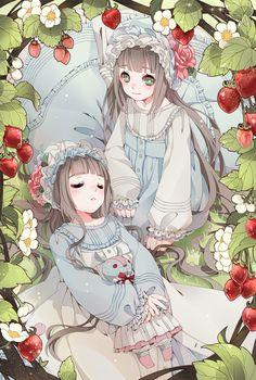 手绘插画 人物 风景 意境 美图 森系 草莓双子