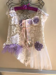 Ballerina Fairy Delicate Festival Tattered Upcycled Lace Vest