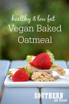 Recipe: The Best Vegan Baked Oatmeal Vegan Baked Oatmeal, Baked Oatmeal Recipes, Baked Oats, Vegan Recipes Easy Healthy, Snack Recipes, Healthy Treats, Healthy Baking, Vegetarian Recipes, Healthy Food