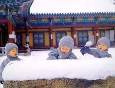 Little Monks having a snow ball fight at Shaolin Monastery, Henan, China.