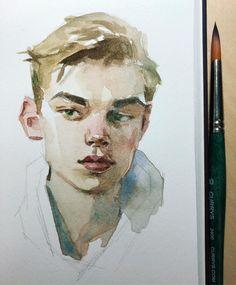 water color portrait of a young man / teenage boy Watercolor Portrait Painting, Watercolor Face, Portrait Art, Painting & Drawing, Watercolor Trees, Watercolor Landscape, Guache, Art Sketchbook, Art Tutorials
