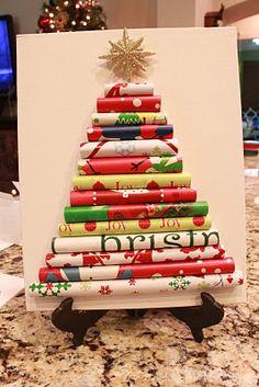 DIY Wrapping Paper Christmas Tree #DIY #Winter #Christmas #Decorations #Decorate #Decor #Trees #ChristmasTrees