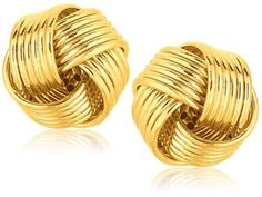 Real 14kt Yellow Gold Polished Textured Double Love Knot Post Earrings