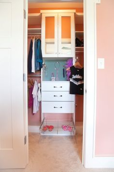 This girl's closet includes covetable features such as a false bottom drawer to hide a journal, a dresser top above the bank of drawers lined with accessory slats for jewelry and sunglasses, and a colorful tack wall where she can pin up photos.