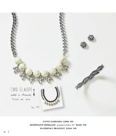 "p 16 covet earrings E109S $25 Moonglow necklace (genuine howlite ) 17"" N113S $69 waterfall bracelet B104S $39"