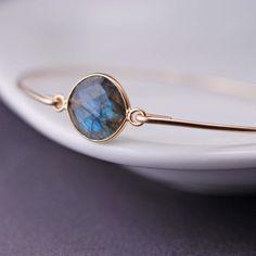 Gold Labradorite Bangle Bracelet by georgiedesigns
