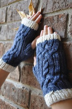 Blue Celtic Knit Fingerless Gloves