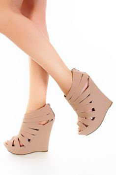 Nude Faux Suede Strappy Cage Platform Wedges