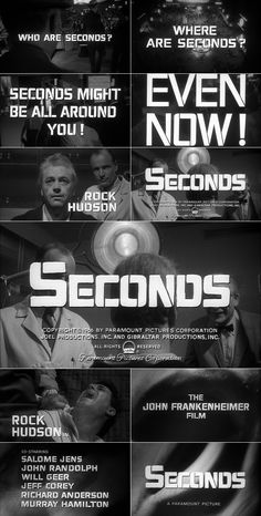 Seconds (1966) trailer typography – the Movie title stills collection ✇ 'SECONDS' (1966), directed by John Frankenheimer, starring Rock Hudson, Salome Jens, John Randolph