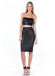 Coated Mesh Inset Cropped Top