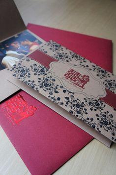 Oriental red and de boss double happiness wedding invitation old shanghai theme pocket fold wedding invitations stopboris Choice Image