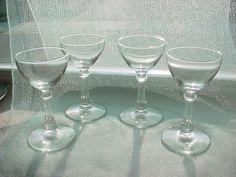 Vtg Antique Set of 4 Mini Goblet Clear Cordial Liqueur Stemmed Shot Glasses