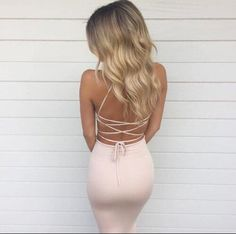 Prom Dresses,Evening Dress,Baby Pink Halter Prom Dress,Lace Up